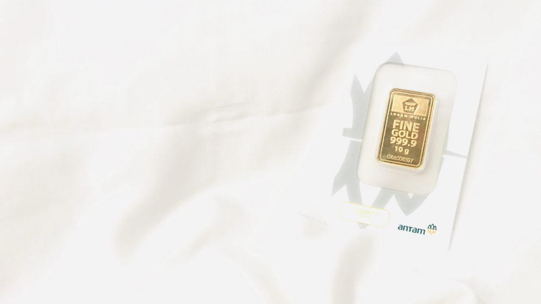 Gambar satu buah emas batangan 10 gram